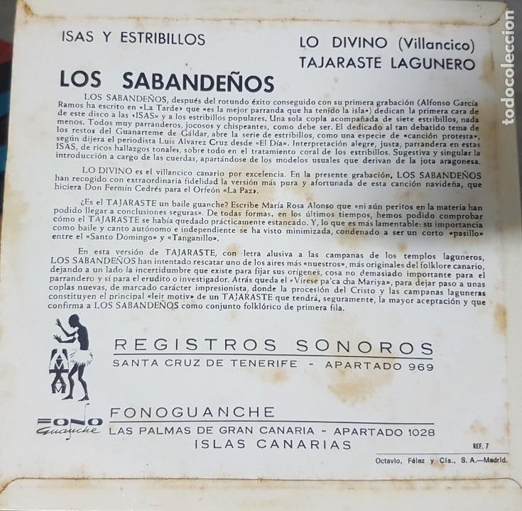Discos de vinilo: Los Sabandeños - Fonoguanche y Tam Tam Raro Ep 1967 - Canarias Folklore - Foto 2 - 195112698