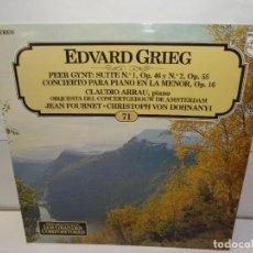 Discos de vinilo: EDUARD GRIEG CLAUDIO ARRAU- ANNETTE DE LA BIJE- ORQUESTA DEL CONCERTGBOUW DE AMSTERDAM LP 1982. Lote 195125173