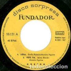 Discos de vinilo: FUNDADOR 10.131 - NORTON – LOLA + 3 - EP 1967 (SOLO DISCO). Lote 195131410