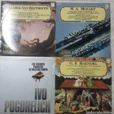 Discos de vinilo: LOTE 4 LPS DE MÚSICA CLÁSICA - MOZART BEETHOVEN HAENDEL E IVO POGORELICH BUEN ESTADO. Lote 195133327