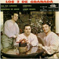 Discos de vinilo: LOS 3 DE GRANADA – OLE TUS LUNARES - EP FRANCE - DISQUES TYPIC EDITIONS J. GARZON – G. 328 LD. Lote 195159325