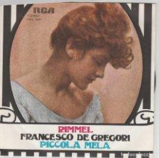 Discos de vinilo: 45 GIRI FRANCESCO DE GREGORI RIMMEL /PICCOLA MELA RCA ITALIANA 1975 VGVG+. Lote 195162696