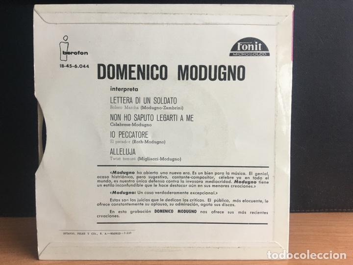 Discos de vinilo: Domenico Modugno - Lettera Di Un Soldato/Non Ho Saputo Legarti A Me/Io Peccatore/Alleluja (EP (D:NM) - Foto 2 - 195194488
