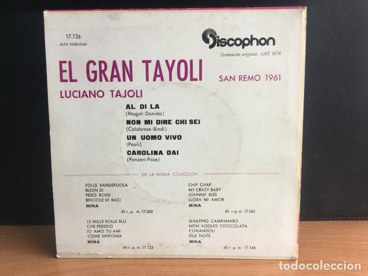 Discos de vinilo: Luciano Tajoli - El Gran Tayoli (EP) (Discophon) 17.126 (D:NM) - Foto 2 - 195194588