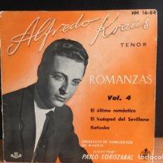 Discos de vinilo: ALFREDO KRAUS - ROMANZAS DE ZARZUELAS VOL. 4 (EP) (HISPAVOX) HH 16-84 (D:NM). Lote 195194643