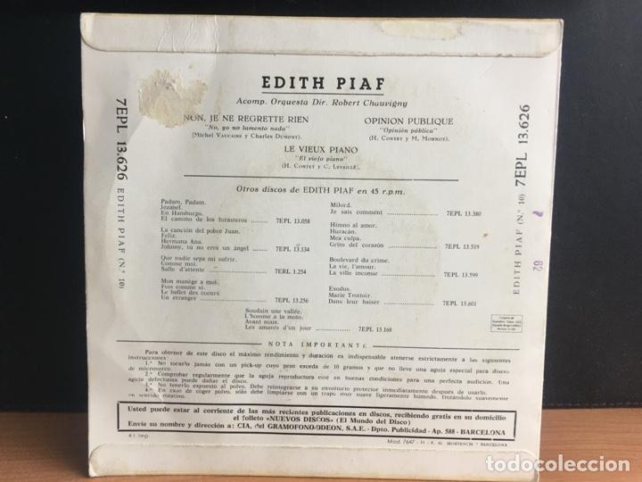 Discos de vinilo: Edith Piaf - Non, Je Ne Regrette Rien (EP) (La Voz De Su Amo) 7EPL 13.62 (D:NM) - Foto 2 - 195196238