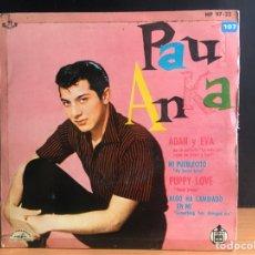 Discos de vinilo: PAUL ANKA - ADÁN Y EVA, DE LA PELÍCULA LA VIDA PRIVADA DE ADÁN Y EVA (EP) (ABC-PARAMOUNT (D:NM). Lote 195199951