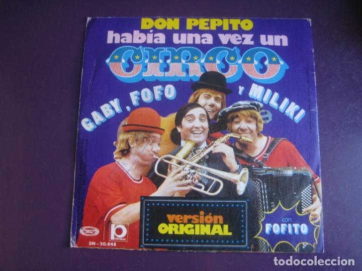 Discos de vinilo: LOS PAYASOS DE LA TELE - GABY, FOFO, MILIKI FOFITO Sg MOVIEPLAY 1974 - HABIA UNA VEZ UN CIRCO +1 TVE - Foto 2 - 195210557