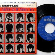 Dischi in vinile: THE BEATLES - A HARD DAYS NIGHT +3 - ERROR IMPRESION ETIQUETAS - EP ODEON 1964 BPY. Lote 195217092