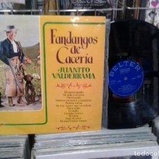 Discos de vinilo: LMV - JUANITO VALDERRAMA. FANDANGOS DE CACERIA. BELTER 1972, REF. 22.652 -- LP . Lote 195220575