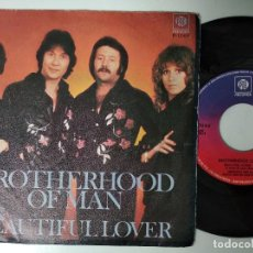 Discos de vinilo: BROTHERHOOD OF MAN BEAUTIFUL LOVER SINGLE SPAIN 1976 PDELUXE. Lote 195236431