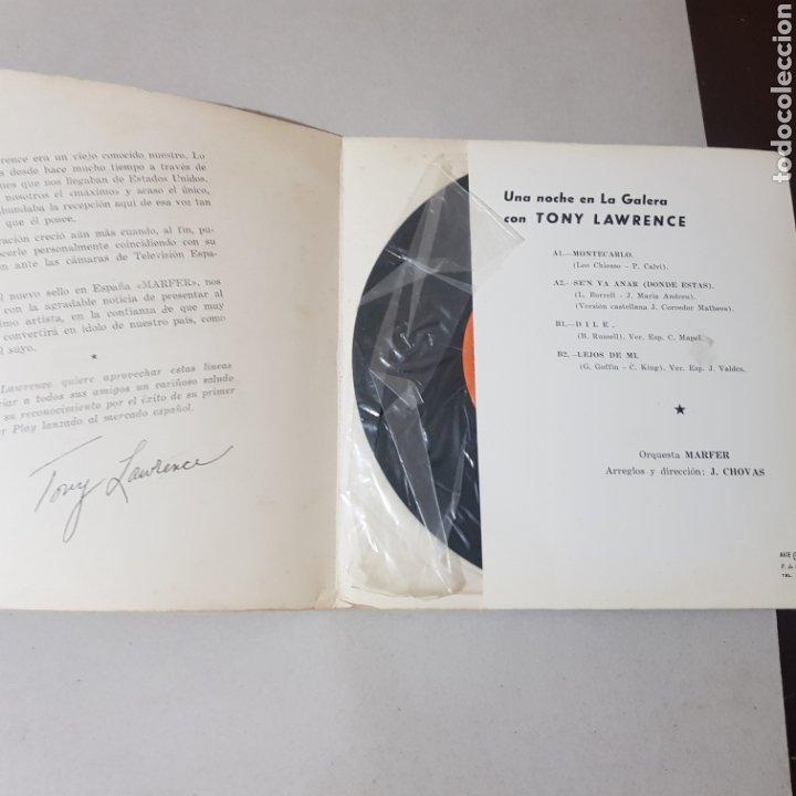 Discos de vinilo: TONY LAWRENCE UNA NOCHE EN LA GALERA- MONTECARLO - SELLO MARFER - Foto 2 - 195246362