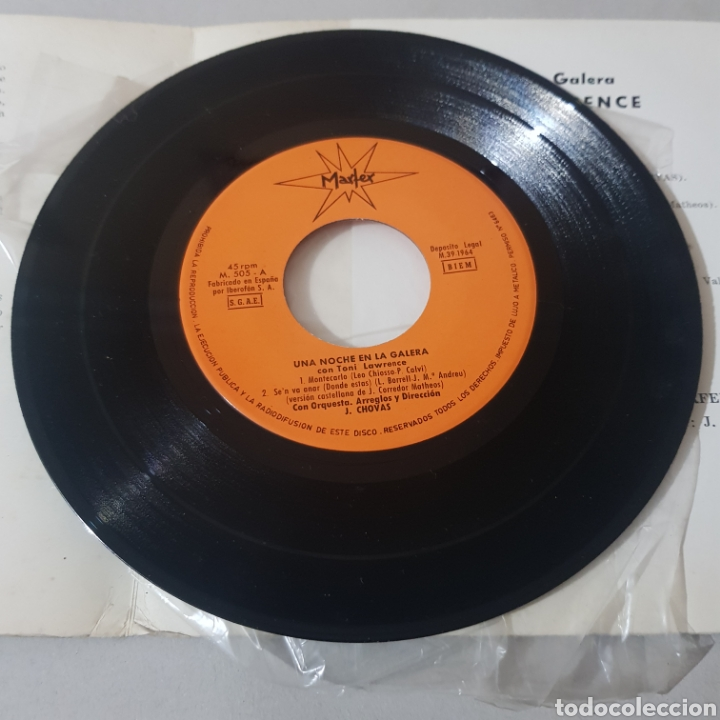Discos de vinilo: TONY LAWRENCE UNA NOCHE EN LA GALERA- MONTECARLO - SELLO MARFER - Foto 3 - 195246362