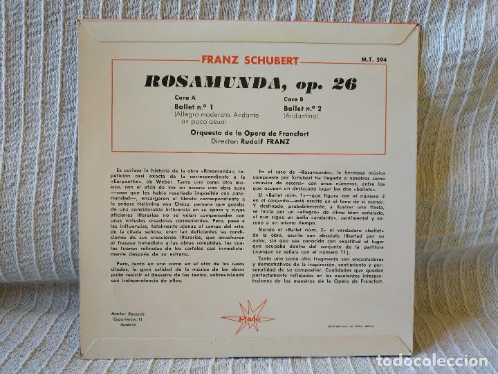 Discos de vinilo: FRANZ SCHUBERT - ROSAMUNDA, Op.26 - Música de Ballet Orq. de la Opera de Francfort Dir Rudolf Franz - Foto 2 - 195275082