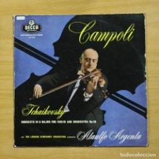 Discos de vinilo: CAMPOLI / TCHAIKOVSKY - CONCERTO IN D MAJOR FOR VIOLIN AND ORCHESTRA OP 35 - LP. Lote 195282273