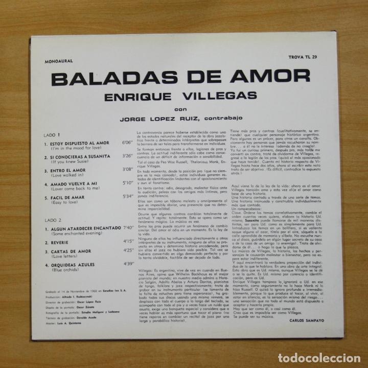 Discos de vinilo: ENRIQUE VILLEGAS - BALADAS DE AMOR - LP - Foto 2 - 195282340