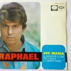 Discos de vinilo: DISCO SINGLE - RAPHAEL, AVE MARIA-AL MARGEN DE LA VIDA-HAVA NAGUILA Y LA PRIMERA PIEDRA, AÑO 1968. Lote 195296890