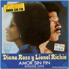 Discos de vinilo: DIANA ROSS Y LIONEL RICHIE – AMOR SIN FIN (ENDLESS LOVE) - SG SPAIN 1981 - BETER/MOTOWN 1-10.214 . Lote 195299482