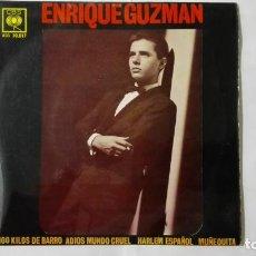 Discos de vinilo: DISCO SINGLE - ENRIQUE GUZMAN CON LOS SALVAJES, 100 KILOS DE BARRO Y TRES MAS, AÑO 1962, DISCOS CBS. Lote 195300090