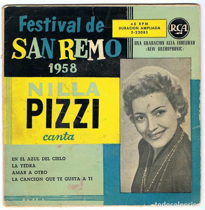 FESTIVAL DE SAN REMO 1958. NILLA PIZZI CANTA EN EL AZUL DEL CIELO + 3. EP (Música - Discos de Vinilo - EPs - Canción Francesa e Italiana)