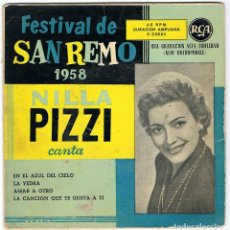 Discos de vinilo: FESTIVAL DE SAN REMO 1958. NILLA PIZZI CANTA EN EL AZUL DEL CIELO + 3. EP. Lote 195306121