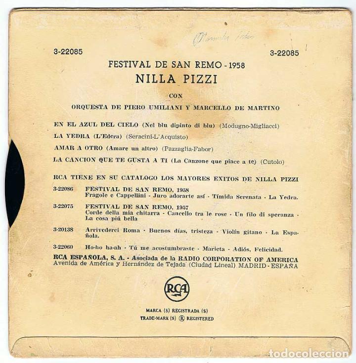 Discos de vinilo: Festival de San Remo 1958. Nilla Pizzi canta En el Azul del Cielo + 3. EP - Foto 2 - 195306121