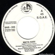 Discos de vinilo: MATA-HARI - PARTY - SINGLE PROMO ITALO-DISCO. Lote 195310093