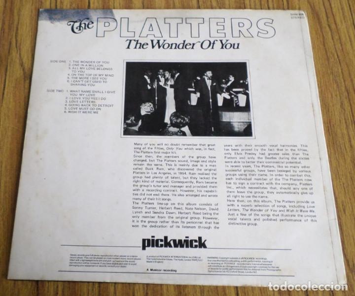 Discos de vinilo: THE PLATTERS -- The wonder of you - Foto 2 - 195314987
