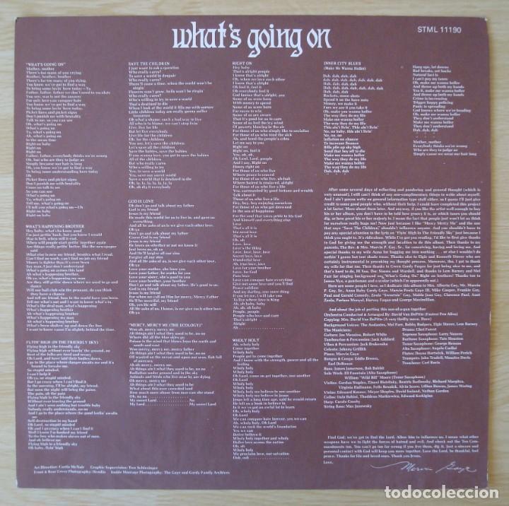 Discos de vinilo: MARVIN GAYE : WHATS GOING ON - EDICION ORIGINAL UK CON PORTADA TEXTURADA + INSERT - STML 11190 - Foto 8 - 195319982