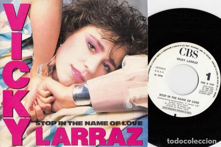 VICKY LARRAZ OLE OLE - STOP IN THE NAME OF LOVE - SINGLE DE VINILO PROMO GRABADO SOLO POR UNA CARA # (Música - Discos - Singles Vinilo - Grupos Españoles de los 70 y 80)