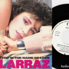 Discos de vinilo: VICKY LARRAZ OLE OLE - STOP IN THE NAME OF LOVE - SINGLE DE VINILO PROMO GRABADO SOLO POR UNA CARA #. Lote 195329520