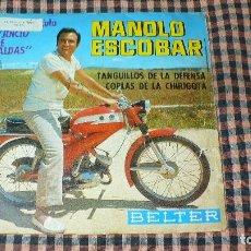 Discos de vinilo: MANOLO ESCOBAR DE LA PELICULA JUICIO DE FALDAS - TANGUILLOS DE LA DEFENSA / COPLAS DE LA CHIRIGOTA.. Lote 195332706