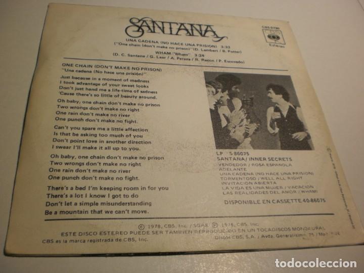 Discos de vinilo: single carlos santana. una cadena no hace una prisión. wham. cbs 1978 spain (probado y bien) - Foto 2 - 195339921