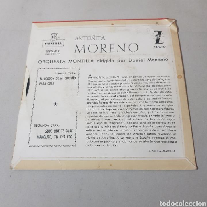 Discos de vinilo: ANTOÑITA MORENO - ORQUESTA MONTILLA - Foto 2 - 195343326