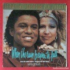 Discos de vinilo: JERMAINE JACKSON & PIA ZADORA - WHEN THE RAIN BEGINS TO FALL. Lote 195343671