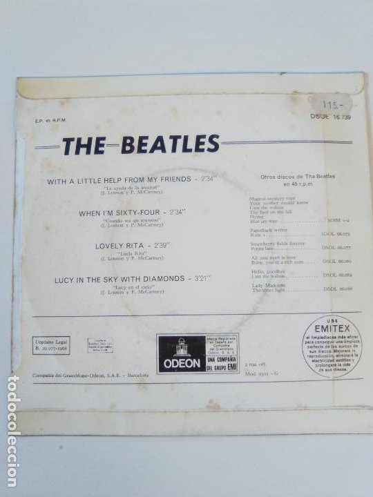 Discos de vinilo: THE BEATLES With a little help from my friends + 3 ( 1968 EMI ODEON ESPAÑA ) MUY RARO - Foto 2 - 195347292