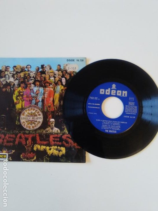 Discos de vinilo: THE BEATLES With a little help from my friends + 3 ( 1968 EMI ODEON ESPAÑA ) MUY RARO - Foto 3 - 195347292