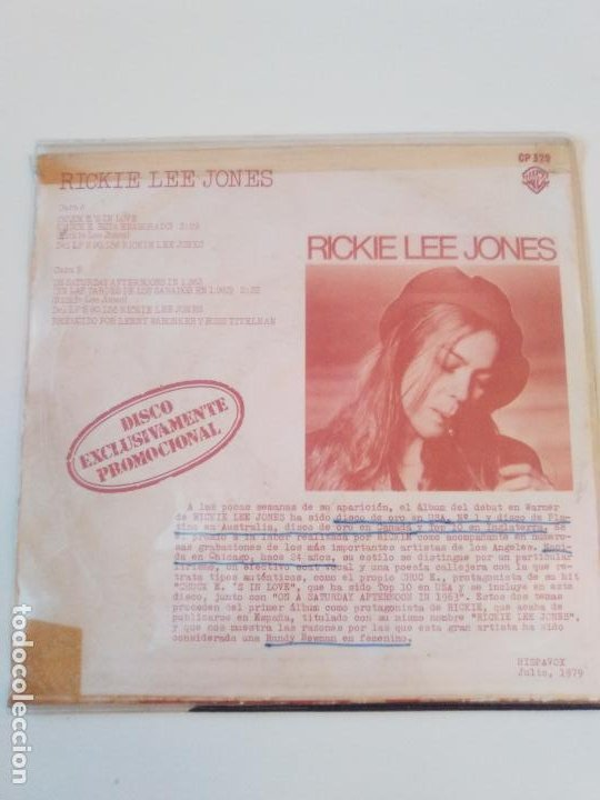 Discos de vinilo: RICKIE LEE JONES Chuck Es in love / On saturday afternoon ( 1979 WARNER HISPAVOX SP ) PROMO - Foto 3 - 195347322