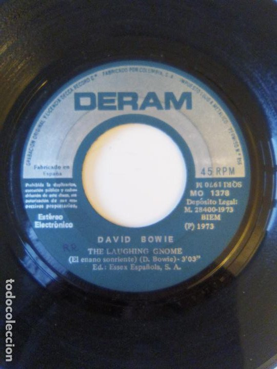 Discos de vinilo: DAVID BOWIE The laughing gnome / Rubber band ( 1973 DERAM ESPAÑA ) - Foto 4 - 195362962