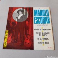 Discos de vinilo: MANOLO ESCOBAR Y SUS GUITARRAS - ESPAÑA MI EMBAJADORA - YO SOY UN HOMBRE DEL CAMPO- NI SE COMPRA.... Lote 195363213