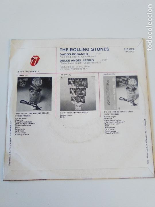 Discos de vinilo: THE ROLLING STONES Dados rodando Tumblin dice / Sweet black angel ( 1972 ROLLING STONES RECORDS SP ) - Foto 2 - 195364011