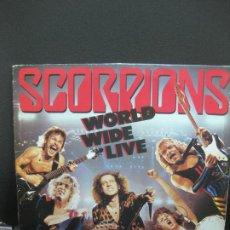 Discos de vinilo: SCORPIONS. WORLD WIDE LIVE. LP DOBLE 1985.. Lote 195372353