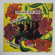 Discos de vinilo: LOS TRES DE CASTILLA. FLORES DE PAZ EN MI JARDIN. TDKDS10. Lote 195383180
