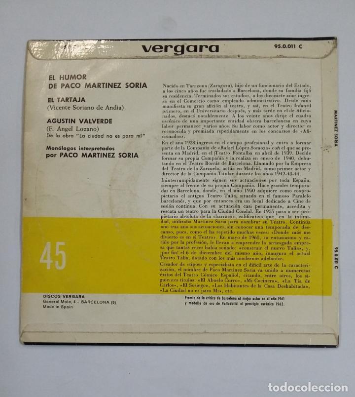 Discos de vinilo: EL HUMOR DE PACO MARTINEZ SORIA. EL TARTAJA. SINGLE. TDKDS10 - Foto 2 - 195385228