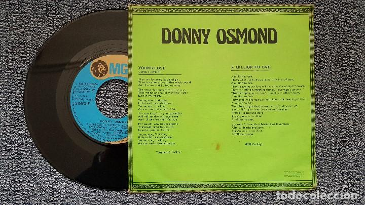 Discos de vinilo: Donny Osmond - Young love / A million to one. editado por MGM. año 1.973 - Foto 2 - 195387395
