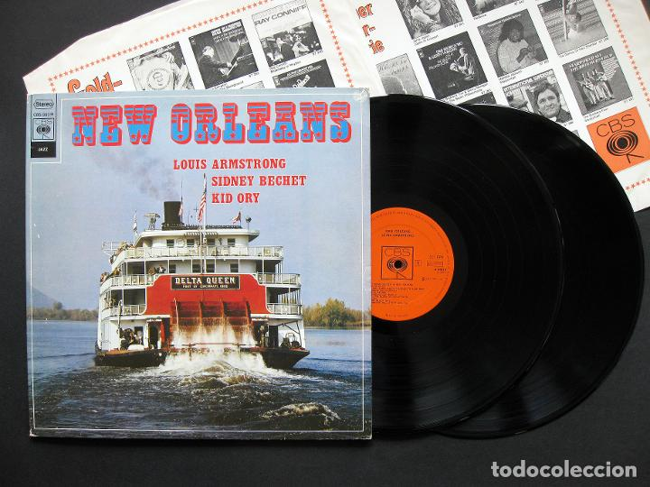 LOUIS ARMSTRONG, SIDNEY BECHET, KID ORY – NEW ORLEANS – 2 LP – 1974 (Música - Discos - LP Vinilo - Jazz, Jazz-Rock, Blues y R&B)