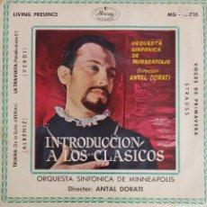 Discos de vinilo: INTRODUCCIÓN A LOS CLÁSICOS. ALBÉNIZ. VERDI. STRAUSS. ANTAL DORATI. EP ESPAÑA. Lote 195391890