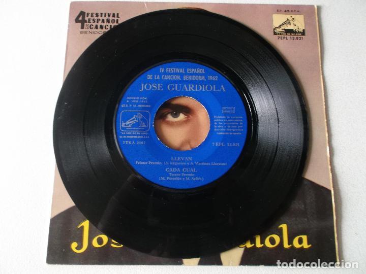 Discos de vinilo: JOSE GUARDIOLA - FESTIVAL BENIDORM 62, EP, LLEVAN + 3 , AÑO 1962 - Foto 3 - 195393286