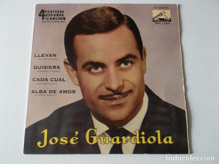 JOSE GUARDIOLA - FESTIVAL BENIDORM 62, EP, LLEVAN + 3 , AÑO 1962 (Música - Discos de Vinilo - EPs - Solistas Españoles de los 50 y 60)