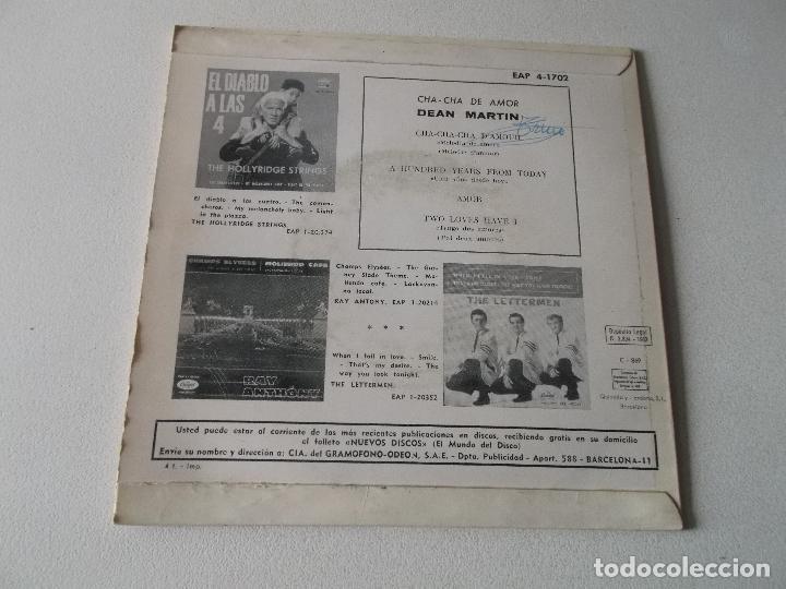 Discos de vinilo: DEAN MARTIN - CHA CHA DE AMOR +3 EP 1963 - Foto 2 - 195393798